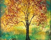 Colorful Abstract Tree Art Print Red Tree Fast shipping two sizes