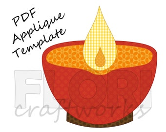 Diwali Diya PDF Applique Template Pattern