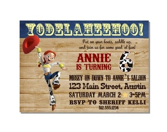 Printable Jessie Toy Story Invitation - with photo or without photo DIY - can be used for any western party