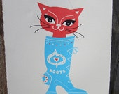 Puss in Boots cat screen print