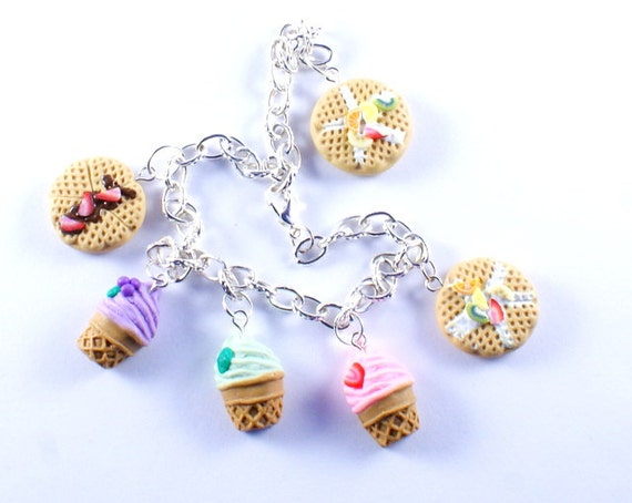 Colorful and lovely Ice cream and WAFFLE charm bracelet plus FREE GIFT