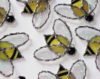 Stained Glass Suncatcher - Yellow Honey Bee with Clear Textured Wings