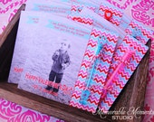 PRINTABLE VALENTINE CARD chevron with photo - Bubbling with Excitement - Red Pink and Blue - 5x5 square card - Memorable Moments