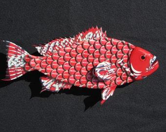Metal Bottle Cap Fish Wall Art (Small) Budweiser Bottlecap Red Grouper