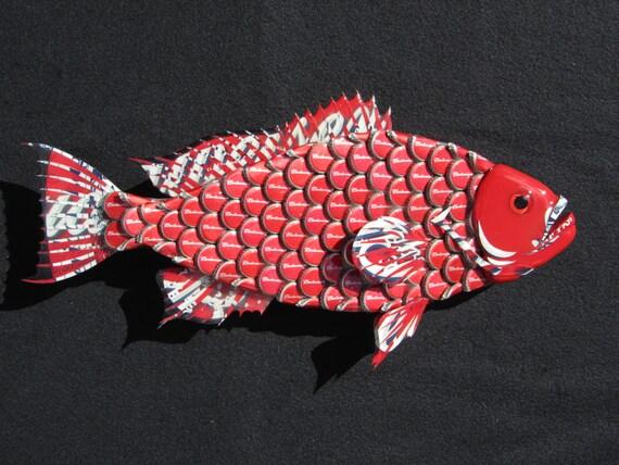 Metal bottle cap fish wall art small budweiser bottlecap red for Bottle cap wall