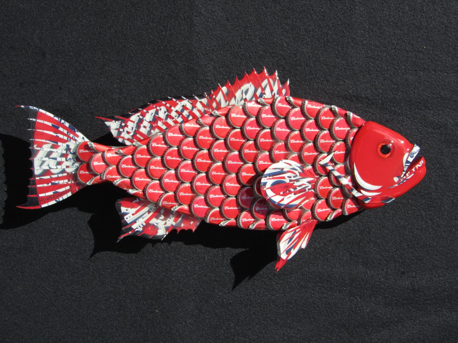 Bottle Cap Wall Art metal bottle cap fish wall art small budweiser bottlecap red