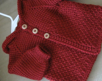 Autumn Red Crochet Sweater with Hood for Boy or Girl - MADE TO ORDER - Tunisian Crochet - Handmade