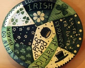 St. Patrick's Day Hand Painted Wood Bowl Folk Art Patchwork Style with Shamrocks, Flowers