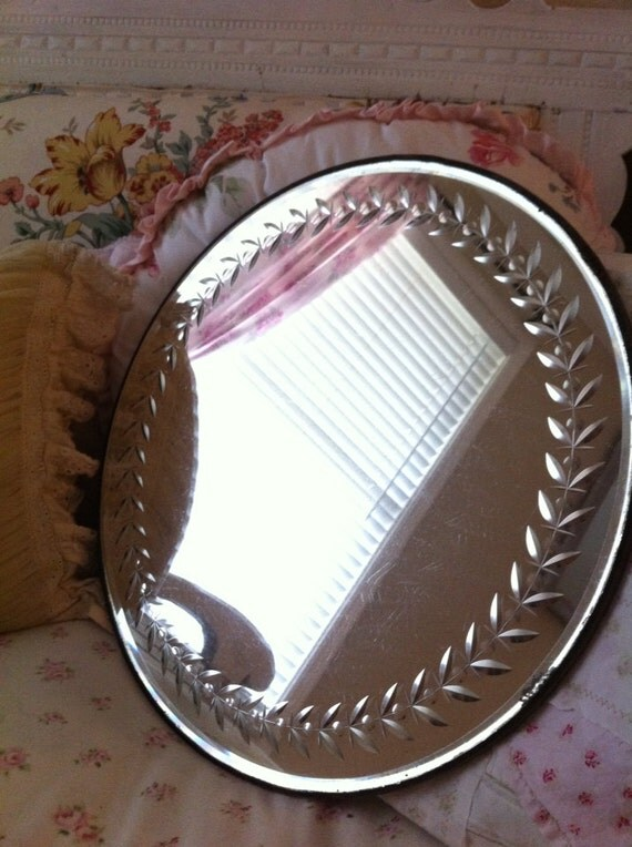 Vintage Etched Round Vanity Display Mirror By Shabbywhitecow