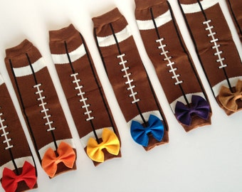 Football Baby Leg Warmers with Bow Pick Your Team Color
