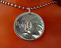 BIRD OF PARADISE necklace //  Indonesia jewelry // Indonesia coin necklace // bird coin // indonesian  rupiah No.001361