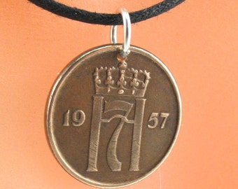 Norway necklace // Norwegian souvenir // Nordic gift //  COIN JEWELRY Norway. ore necklace //  Choose Year  No.001297