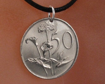 SOUTH AFRICA Coin Necklace  / Africa pendant jewelry /  bird of paradise flower coin  No.001165