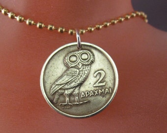 greek COIN JEWELRY. coin necklace. owl coin. 1973.  bird jewelry. Greece. mens jewelry. unisex.  chain No.00676