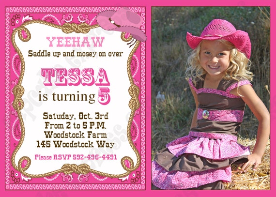 DIY Cowgirl  Printable Birthday  Party Photo Invitation  by Cupcake Express pink brown western