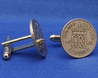 1948 British Sixpence Coin Cufflinks, Lucky Wedding, Emperor King George VI English UK 6d