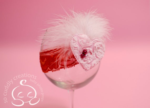 Baby Valentine's Day Vintage Headband Red Pink Pearl Feathers Lace Newborn Headband Photography Prop
