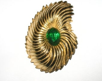Abstract Retro Pin with Large Oval Green Stone