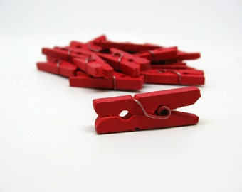 Red Mini Clothespin - Set of 25