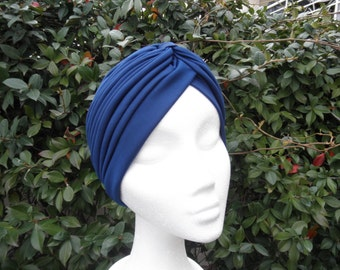 Navy turban full headband,headpiece, navy hair turban