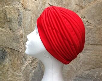 Red turban full headband ,headpiece,Red hair turban