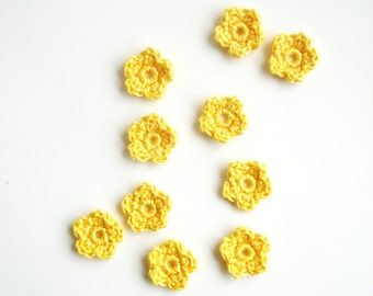 Crochet Flower Appliques, Tiny Small Cute Flowers, Decorative Motifs, Lemon Color, Sunny Yellow, Set of 10, Embellishments, Scrapbooking