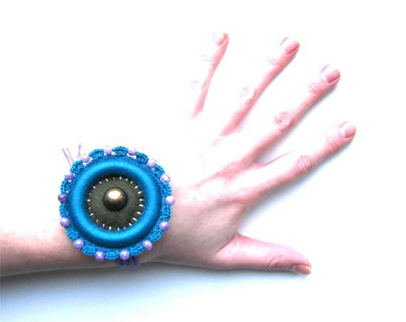 Crocheted Art Bracelet, Crochet Boho Jewelry