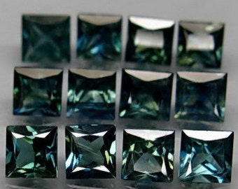 Blue to Blue Green Sapphire Faceted Squares, 3.5 MM Calibrated, Natural Color, Priced Each