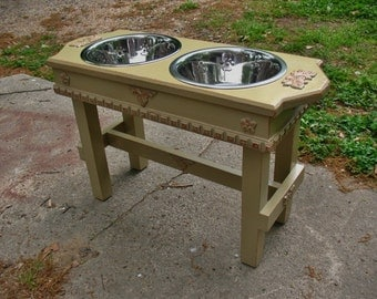 Distressed Pet Feeder New Style for Large Dogs, Green Tea Color Cottage Chic 2 Two Quart Paw Print Dog Bowls - Made to Order