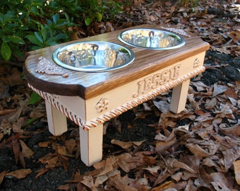 Personalized Cat or Dog Feeder, Custom Cottage Shabby Chic, Medium Dog, Two - One Quart Paw Print  Bowls Made To Order