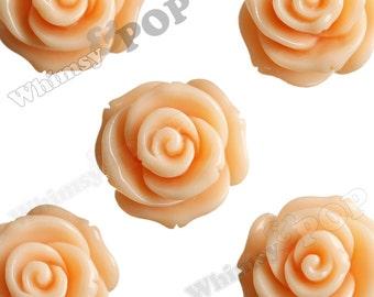 23mm - Large Sorbet Orange Rose Cabochons, Flower Cabochons, Rose Shaped, Chunky Rose Flatbacks, 23mm Rose Cabochons (R5-005)