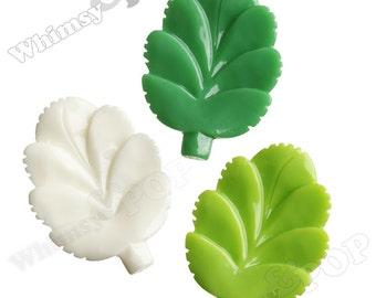 3 - Resin Leaf Cabochons, Leaves Flatback Cabochons, 27mm x 37mm (R3-127)