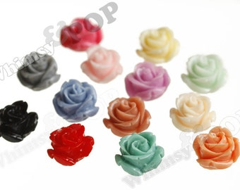 Open Bud Mixed Colors Rose Cabochons, Rose Flower Cabochons, Flower Cabs, Flat Back Embellishment, 15mm x 7mm (R2-131/144)