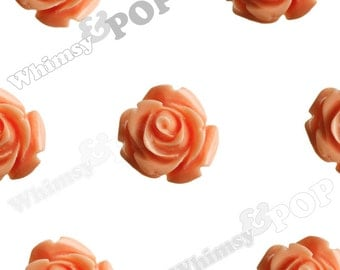 Open Bud Coral Orange Rose Cabochons, Rose Flower Cabochons, Flower Cabs, 15mm x 7mm (R2-135)