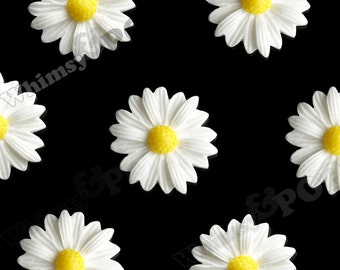 10 - White Gerber Daisy Sunflower Resin Cabochons, Daisy Cabochon,  22mm x 7mm (R6-008)