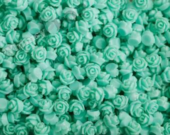 7.5mm - Aqua Green Teeny Tiny Rose Resin Cabochons, Tiny Flower Cabochons, Flower Cabs, Tiny Flatback Roses, 7.5mm  (R3-039)