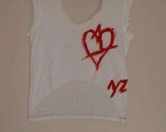 Nyz Designs One Love White Tank ONE HEART TEE Crop Top Tee Shirt High Low Tank Top T Shirt