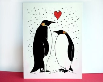 Valentine Card - Penguin Love