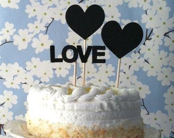 Heart Wedding cake topper, wedding cake topper, love cake topper, by Kiwi Tini