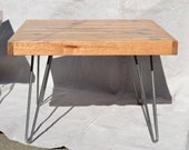 Square Side Table: Salvaged Boxcar Oak With Red Resin Inlay