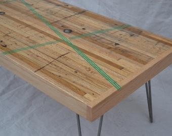 Coffee Table - Reclaimed Oak W/ Green Resin Inlay