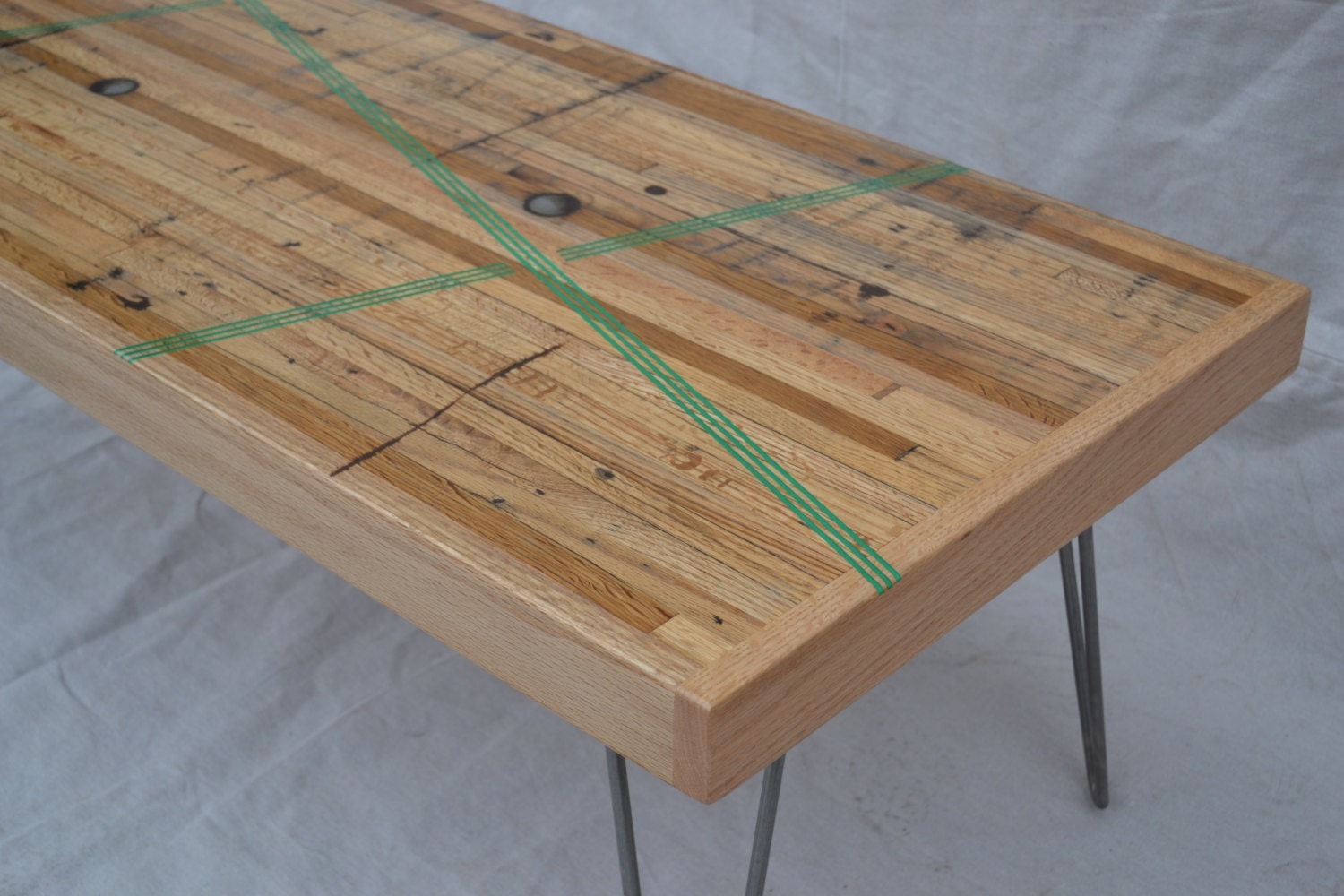 Coffee Table Reclaimed Oak W Green Resin Inlay