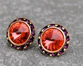 Padparadscha Pink Sapphire Purple Rhinestone Stud Earrings Swarovski Padparadscha Earrings Purple Bridesmaid Earrings Sugar Sparklers