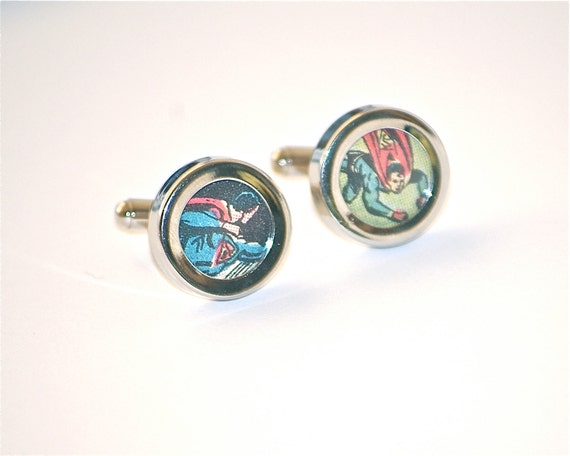 Superman cufflinks superhero cuff links stainless steel recycled vintage comic books dc comics superheroes
