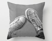 Decorative Photo Throw Pillow Cover Wallflower Converse Sneakers Awkward Teen Home Decor 18x18 Gift for Him Gift for Her Black White Grey