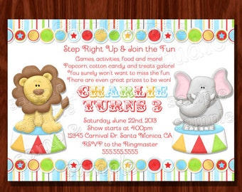 Carnival Circus Themed Birthday Invitation printable digital file