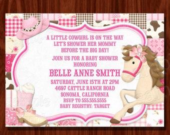 NEW Cowgirl themed Baby Shower/ Birthday Invitation