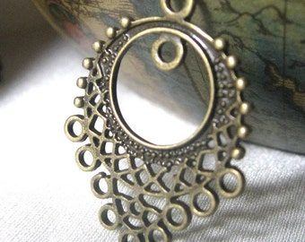 Antique Brass Chandelier Earring Components Filigree 25mm 8 pieces