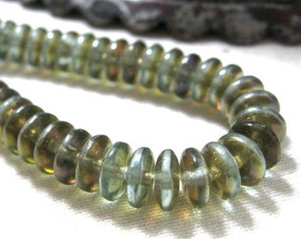 Czech Glass Beads 6MM Faceted Blue Green Disc Saucer Beads Spacers 50 pieces