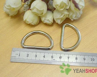 Silver Tone / Antique Brass Metal D Rings - Outer 41mm / Inner 32mm - 10 PCS (DR6)
